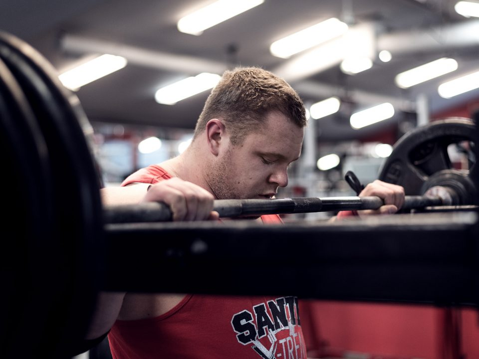 Strongman athlete Jimmy Paquet getting ready for a heavy squat