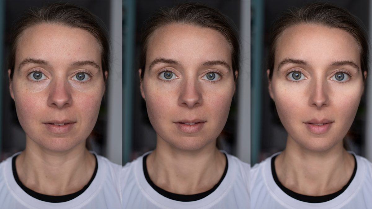 Three different retouching on female portrait
