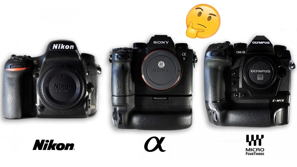 Comparison of three professional mirrorless camera bodies: Nikon D750, Sony a9, Olympus OMD-EM1X