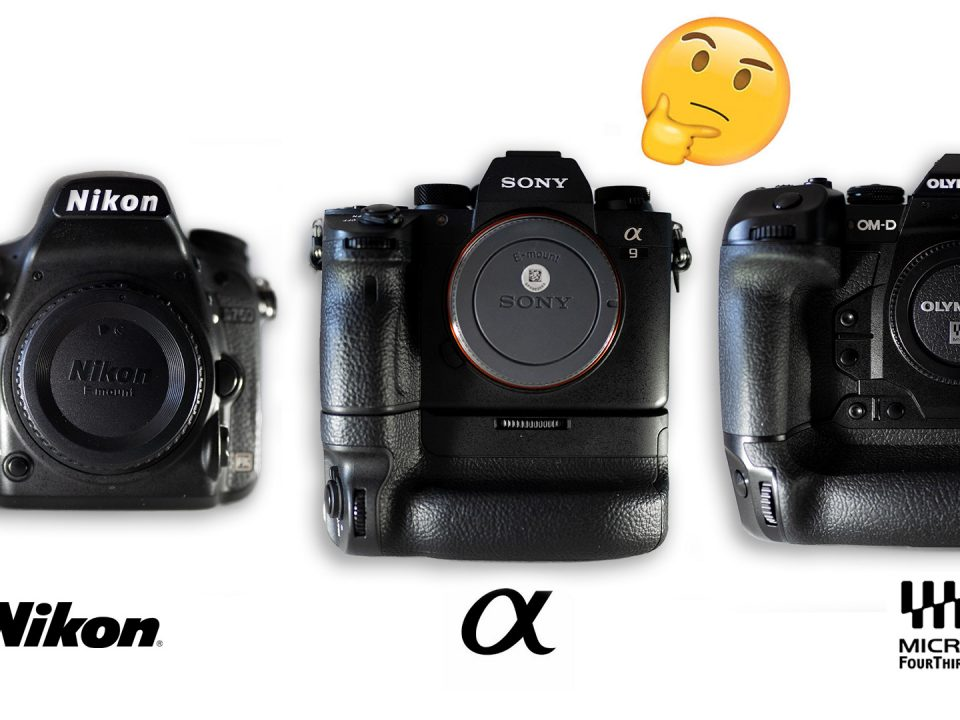 Comparison of three professional mirrorless camera bodies: Nikon D750, Sony a9, Olympus OMD-EM1X