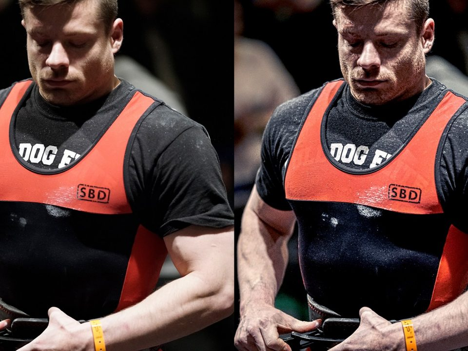 Before after Powerlifting athlete putting on his lifting belt