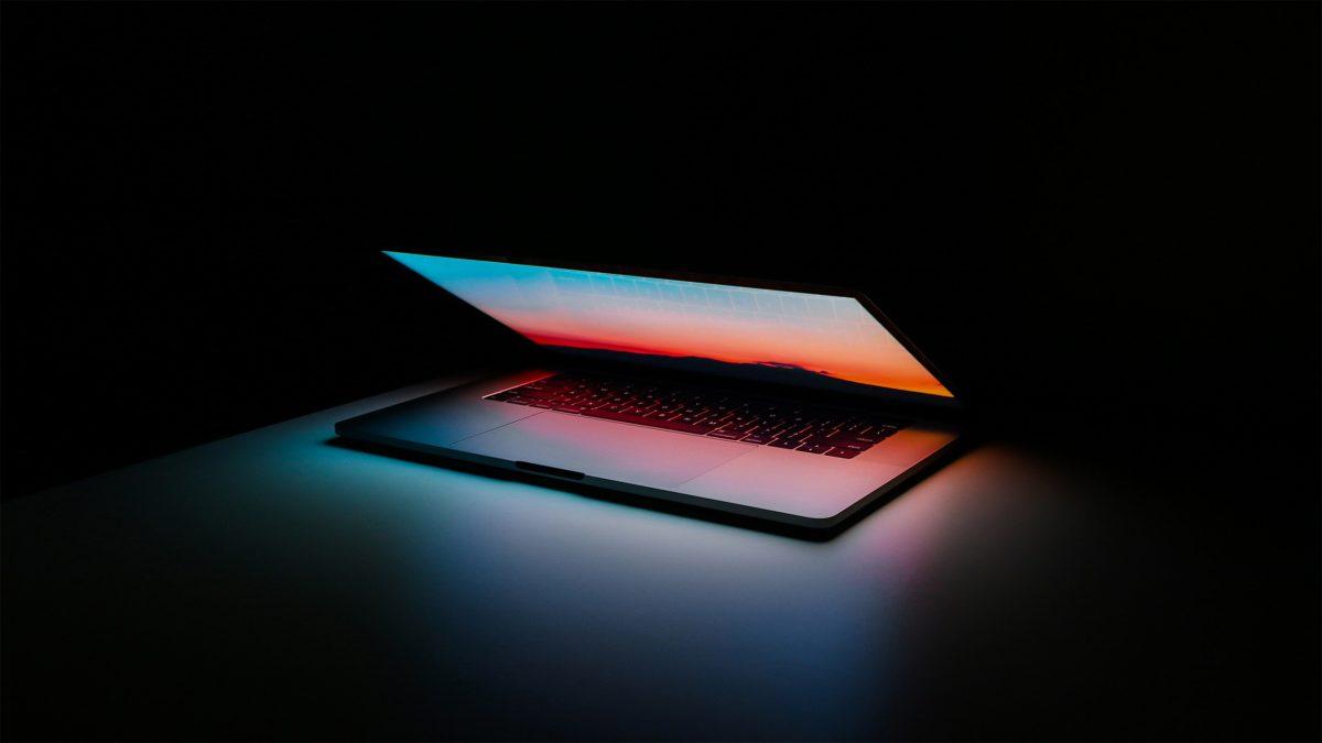 Laptop macbook pro light open