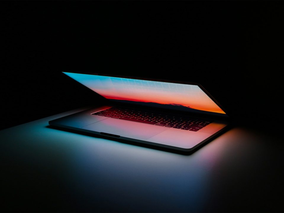 Laptop macbook pro light open
