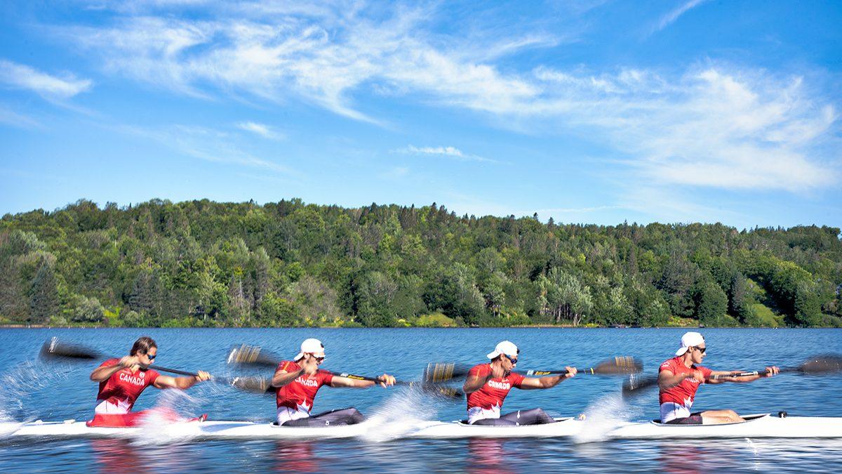 Team Junior Kayak Canada training at Lac Beauport