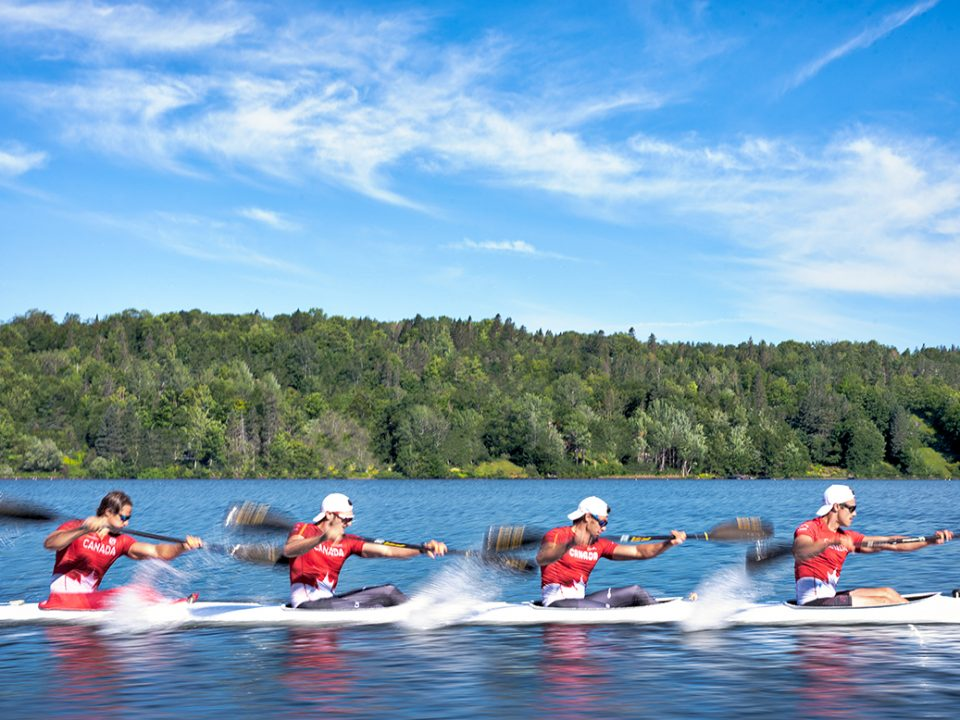 Team Junior Kayak Canada training at Lac Beauport