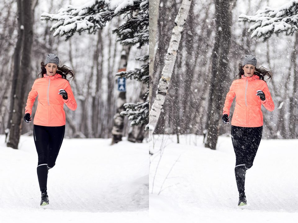 Before and after picture with and without snow runner in the winter