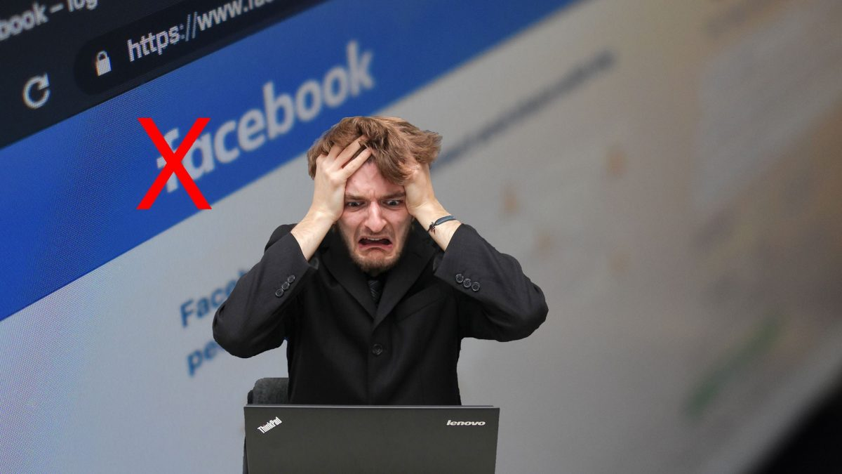Male panic Facebook deleted account