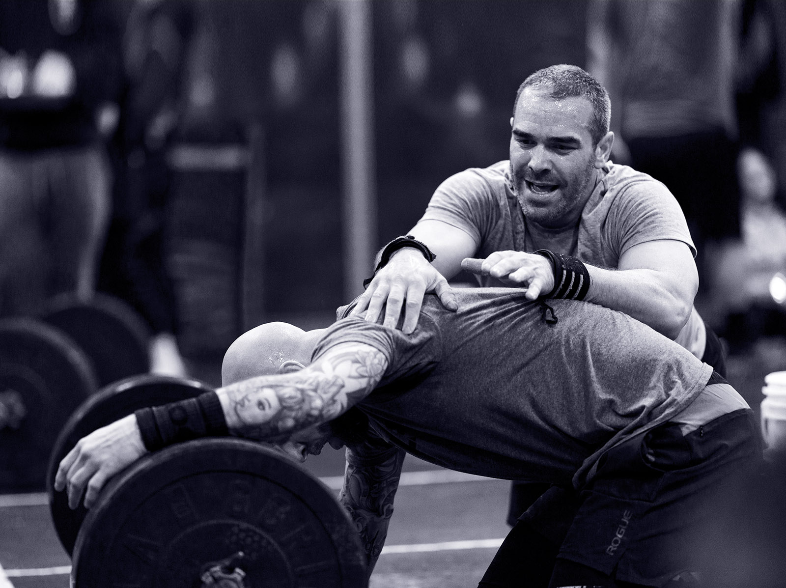 Masters male crossfit athlete exhausted after WOD